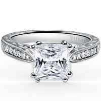 "Kirk Kara ""Stella"" Princess Cut Channel Set Diamond Engagement Ring"