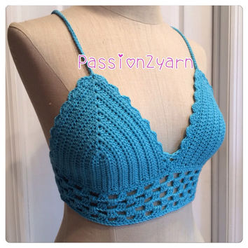 TURQUOISE Crochet halter top, Summer outfit , Summer beach , Sexy top ,Passion2yarn