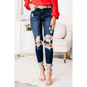 Leading To Greatness Distressed 'Mom' Jeans