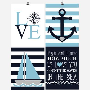Nautical Nursery Decor Set of 4 Prints - If You Want to Know How Much We Love You Count the Waves in the Sea