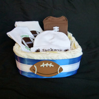 Football Baby Boy Gift Set Diaper Basket - Choose Your Team Colors