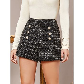 SHEIN Double-breasted Front Tweed Shorts