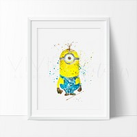 Minion 1 Watercolor Art Print