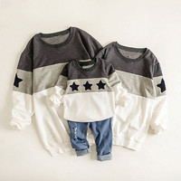 Family Look 2017 Mommy and Me Clothes Fashion Mother Father Baby Cotton Family Clothing Embroidery Star Family Matching Outfits
