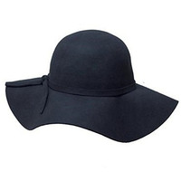 Katherine Women's Vintage Inspired Wool Floppy Felt Fedora Cloche Sun Hat Black