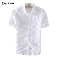 ZAITUN White Men Casual Cotton Linen Shirt Men Summer Short Sleeve Dress Shirts Camisa Masculina Casual Shirt Men Brand Clothing
