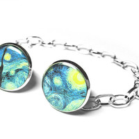 A Starry Night Collar Clips Sweater Clips Vincent Van Gogh Collar Pins Womens Accessories Gift for her Christmas Gift