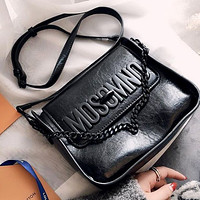 Moschino Early Spring Catwalk Women's Simple Fashion Wide Shoulder Strap Shoulder Bag Crossbody Bag