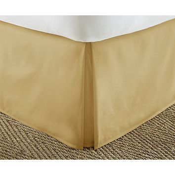 Soft Essentials Premium Pleated Bed Skirt Dust Ruffle - Gold - Twin