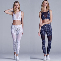 2 Piece Activewear Set with Mesh Insets 2 Colors