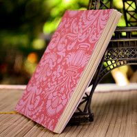 Journal, Cherry Pink Damask Jotter with Hand Stitched Binding, Notebook, Sketchbook, Memo Book with Art Paper Pages