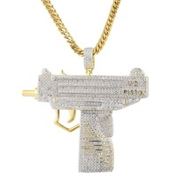 Sterling Silver Iced Out Pistol Gun 14k Gold Finish Pendant