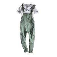 Mens hip hop fashion Army Green bib overalls Cool Cotton cargo pants designer jumpsuit for men Suspender Trousers