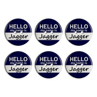 Jagger Hello My Name Is Plastic Resin Button Set of 6