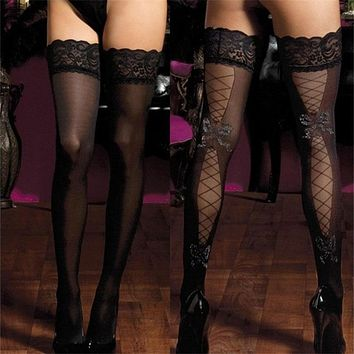 2017 New Brand Women Sexy Stockings Thigh High Print Bow Lace nylon Top Ultra Sheer Knee High Stockings Lingerie