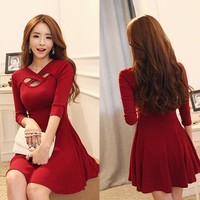 Hollow Out 3/4 Sleeve Bodycon Pleated Dress