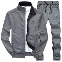 Men's casual embroidered collar solid sporting tracksuit
