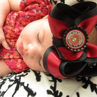 US MARINES Themed Twisted Boutique Style Bottle cap Hair Bow