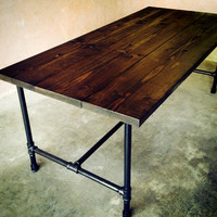 The Jerry Kitchen Table - Handmade Wood and Galvanized Pipe Dining room or Kitchen Table