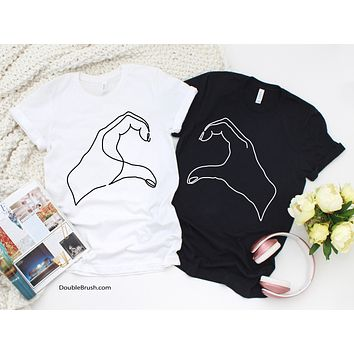 Matching Minimalist Line Drawing Heart Hands Shirts Sold Separately