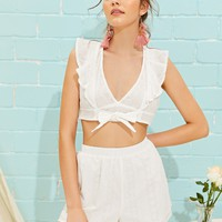 Schiffy Ruffle Armhole Crop Top & Shorts Set
