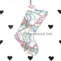 London Christmas stocking Christmas stockings Holliday decor Stocking England Stocking Transportation London map stocking