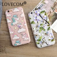 Fashion Luxury Floral Painted 3D Relief For Apple iPhone 6 6S 6Plus 7 7 Plus Beauty Flower Cartoon Horse Cell Phone Cases Cover