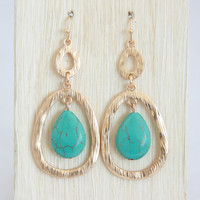 Turquoise Stone Pendulum Earrings