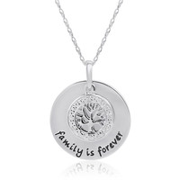Sterling Silver and Diamond Family is Forever Pendant-Necklace