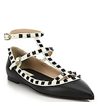 Valentino - Rockstud Two-Tone Leather Cage Flats - Saks Fifth Avenue Mobile