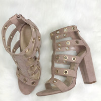 Cosmopolitan Mauve Suede Caged Chunky Heel