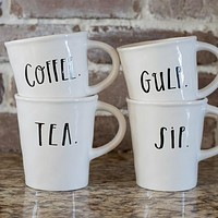 Rae Dunn Stem Print Cafe Mugs, Set of 4