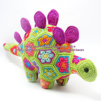 Puff the Magic Stegosaurus African Flower Crochet Pattern