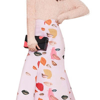 Pink Lips Printed Fishtail Maxi Skirt