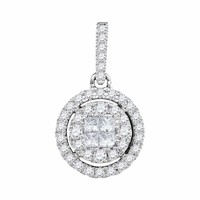 14kt White Gold Women's Princess Round Diamond Soleil Framed Cluster Pendant 1-2 Cttw - FREE Shipping (US/CAN)