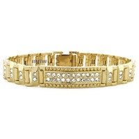 "14K GOLD PLATED MICRO PAVE SIMULATED DIAMOND 8.5"" BRACELET KB013G"