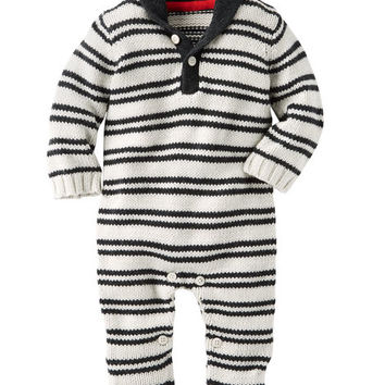 Striped Shawl Collar Coveralls