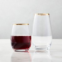 STEMLESS GLASSWARE (SET OF 4) - GOLD RIMMED