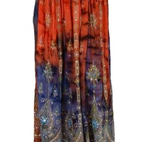 SNS Rayon Tie Dye Sequin Long Maxi Skirt