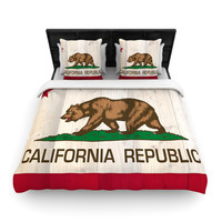 """Bruce Stanfield """"California Flag Wood"""" Brown Woven Duvet Cover"""