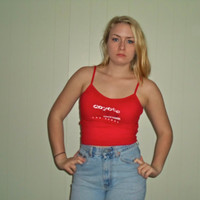 90s Coyote Ugly Bright Red Crop Top Belly Shirt, Vintage Baby Tee