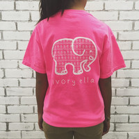 Pink Animal Print T-shirt Elephant Pattern Top