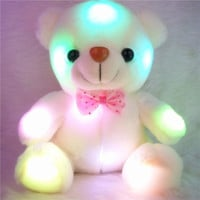 2015 New Colorful luminous white Bear toys Dazzling Lights brinquedos hug girls conjunto menina Wedding Birthday Valentines Gift (Color: White) = 1946136644