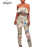 Adogirl Fashion Womens Two piece Sets 2017 Floral Print Sexy Short Strapless Tops and Long Slim Pants Sets Ruffles Clubwear Sets