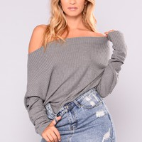 East Hampton Cottage Off Shoulder Sweater - Charcoal