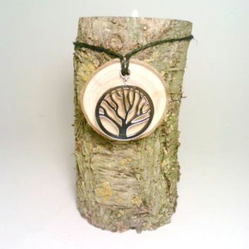 Rustic Candle Holder and Candle Charm, Wine Charm, Centerpiece, Room Decor, Log Candle