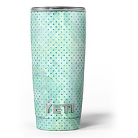Green and Blue Watercolor Polka Dot Pattern - Skin Decal Vinyl Wrap Kit compatible with the Yeti Rambler Cooler Tumbler Cups