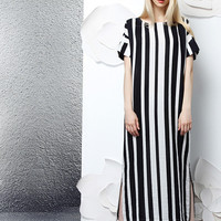 Black and White Stripe Linen Dress