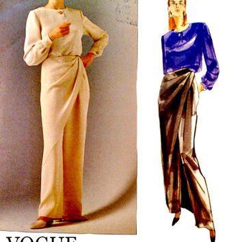 Vintage 90s Narrow Straight Evening Pants Pleated Overlay Vogue Sewing Pattern 2509 Jewel Neckline Top Bill Blass Patterns Uncut Size 10 12