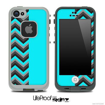 Turquoise Double Tone Chevron Pattern Skin for the iPhone 5 or 4/4s LifeProof Case